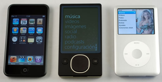 Comparativa fotográfica: Zune, iPod classic y iPod touch