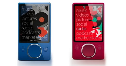 Zune 120 azul y rojo disponibles en  Zune Originals