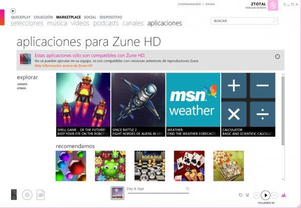 Zune HD aplicaciones