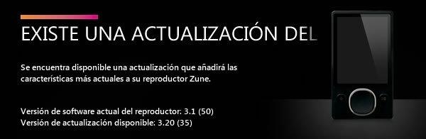 Actualización firmware Zune 3.2